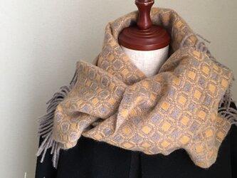 手織りカシミアマフラーの画像