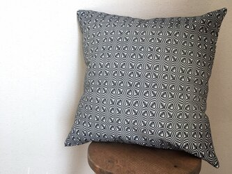 手織り クッションカバー ネイビーの画像