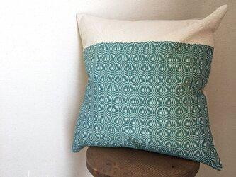 手織り クッションカバー 2トーンエメラルドの画像