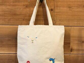 イルカ&カモメ 刺繍&チャーム トート(大)の画像