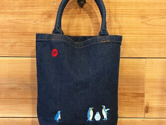 ペンギン 刺繍 Bigデニムトートの画像