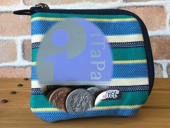 【倉敷帆布】小型軽量、カード・お札・コイン用 先染め帆布財布 緑系生地紺ファスナーの画像