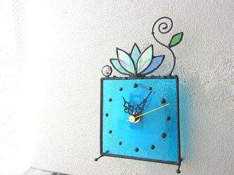 時計・ステンドグラス*掛け&置き・水色のルラック-07(3)の画像