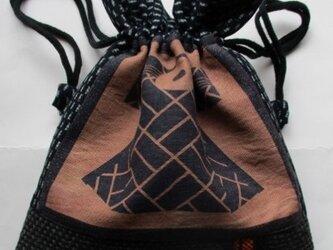 着物リメイク 絣と半纏柄で作った巾着袋 2280の画像