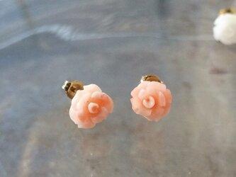 ★sale★珊瑚のバラピアス K18【FP081】の画像