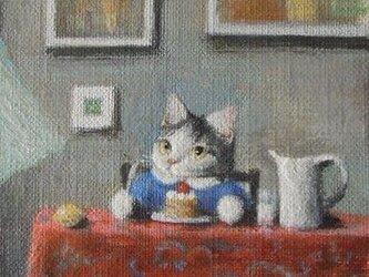 赤いテーブルクロス2・キティ(売約済)の画像