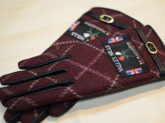 【ブリティッシュウール&レザー手袋】(レディース22cm/レッド/13282)の画像