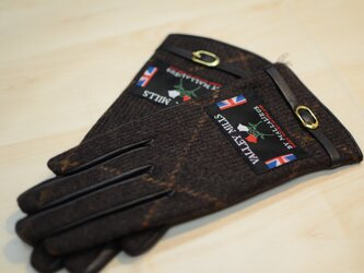 【ブリティッシュウール&レザー手袋】(レディース22cm/ブラウン/13282)の画像