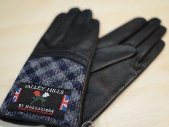 【ブリティッシュウール&レザー手袋】(レディース22cm/ブルー/13283)の画像