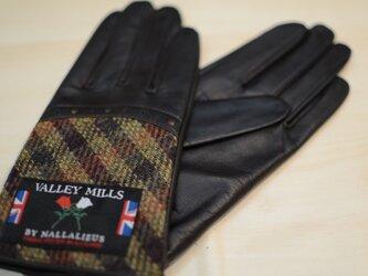 【ブリティッシュウール&レザー手袋】(レディース22cm/ブラウン/13283)の画像