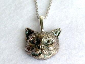 スッとしたネコ・silver925製ペンダント(猫・ネコ・にゃんこ・アメリカンショートヘア・日本猫・アメショ)の画像