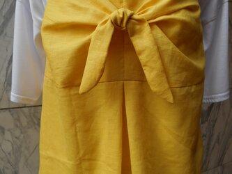 麻リボン結びキャミソール イエローの画像
