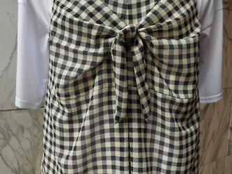 白黒チェック リボン結びキャミソールの画像