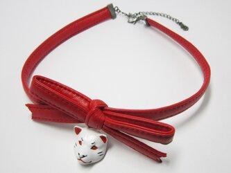柴犬 RIBBON CHORKERレジン(白×赤)の画像