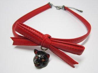 柴犬 RIBBON CHORKERレジン(黒×赤)の画像