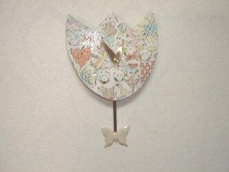 振り子時計 チューリップの画像