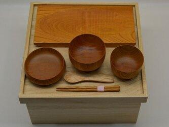 お食い初め食器 箱膳欅長角皿セットの画像
