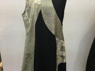 ラウンドパッチジャンパースカート (着物リメイク)(大島)の画像