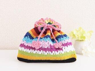 172.刺繍糸で編んだぺったんこ巾着の画像