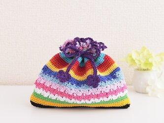174.刺繍糸で編んだぺったんこ巾着の画像