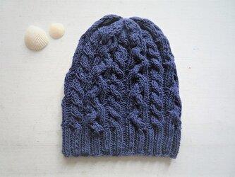 コットン帽子O・なわ編み×2[ネイビー]の画像