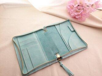 春色淡い青色の手帳ケース文庫本サイズの画像