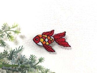 手刺繍ブローチ*金魚の画像
