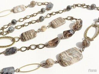 アースカラー天然石・ロングネックレスver2の画像