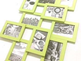 木目調 デザインフォトフレーム グリーンの画像