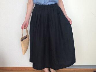リネンのスカート  ブラックの画像