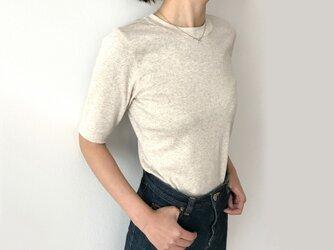 日本製オーガニックコットン 形にこだわった大人の4分袖無地Tシャツ アイボリー【サイズ展開有】の画像