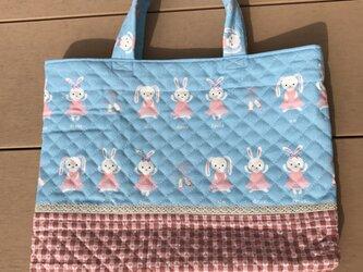 レッスンバッグ うさぎバレリーナ 水色の画像