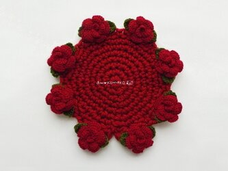 薔薇のポットマットの画像