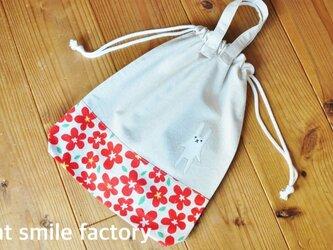 体操服袋赤花※持ち手有り(送料無料)の画像