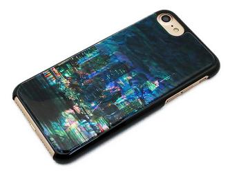 iPhone7/6/6sケース 天然貝仕様(都会の夜景・黒カバー)<螺鈿アート>の画像