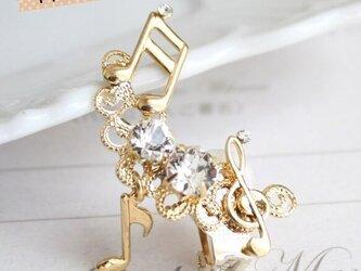 【送料無料】弾む音符イヤリング/イヤークリップ【片耳】【右耳用】(※金色か銀色かお選びください)の画像