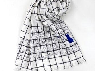 50%オフ★ドローイングCAT柄刺繍ストール917019の画像