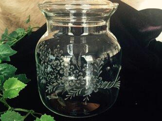 ライラックの花束キャニスター 〜手彫りガラス〜の画像