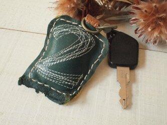 本革№2 ラッキーナンバーキーホルダー 深緑×黄色の画像