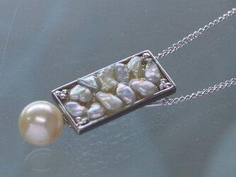 オリジナルあこやケシとイエローパールの四角モチーフのペンダント【あこや真珠】silver925製 p-1668の画像
