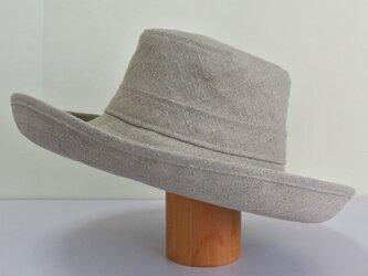 A1-13 大きめブリムの帽子 麻ナチュラルの画像