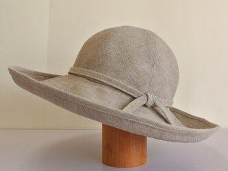 MC-1 6枚はぎの丸い帽子 麻ナチュラルの画像