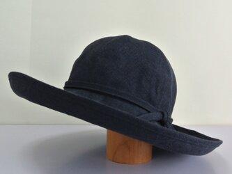MC-1 6枚はぎの丸い帽子 麻ネイビーの画像