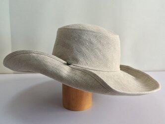 M-15 釦でブリムを上げる帽子 麻ナチュラルの画像