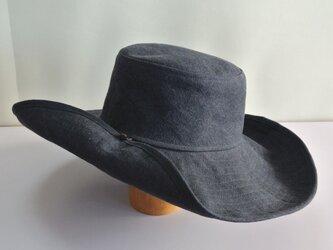 M-15 釦でブリムを上げる帽子 麻ネイビーの画像