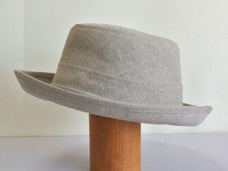 A1-11 短めブリムの帽子 麻ナチュラルの画像