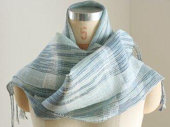 手織り ブルーの絹麻ストール②の画像
