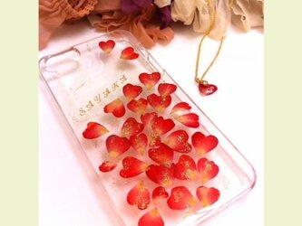 本物のお花ハート型バラのiPhone7ケースの画像