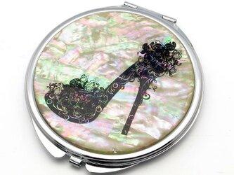 コンパクトミラー 天然貝仕様(ブラックヒール)<螺鈿アート>の画像