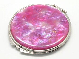 コンパクトミラー 天然貝仕様(ピンクウォーターカラー)<螺鈿アート>の画像